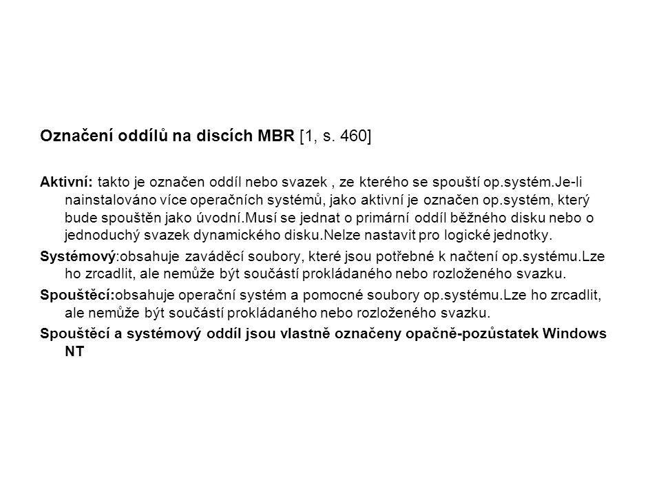 Označení oddílů na discích MBR [1, s. 460]